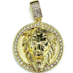 High-Quality 14k Gold Plated Iced Lion Pendant